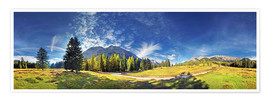 Póster  360 ° mountain panorama in the Wettersteingebirge south face with Mieminger chain - Michael Rucker