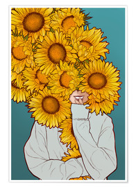 Póster  Happy Sunflowers - Paola Morpheus