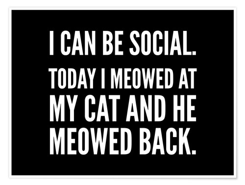 Póster I Can Be Social Today I Meowed At My Cat And He Meowed Back