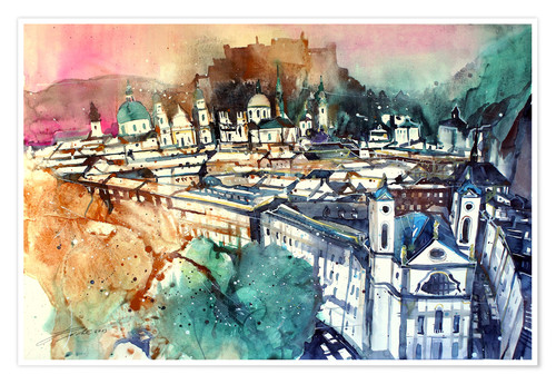 Póster Salzburg, old town with Markus church