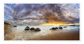Póster Moeraki Boulders Panorama, South Island, New Zealand, Oceania