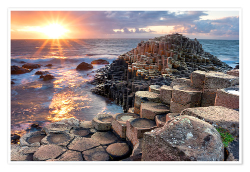 Póster Sunset at Giant s Causeway