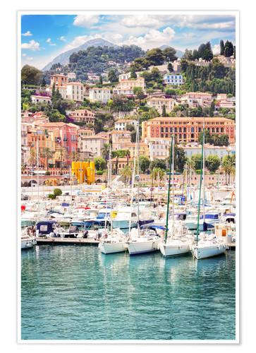 Póster colorful houses and yachts in Menton