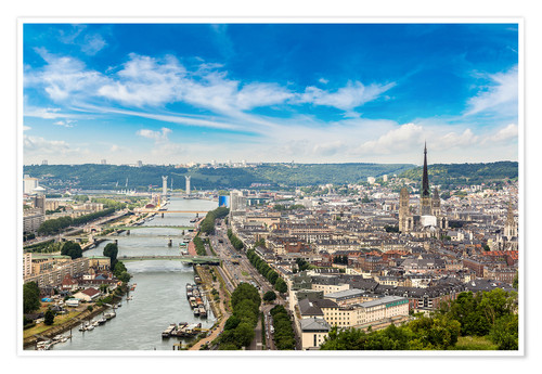 Póster Panoramic aerial view of Rouen