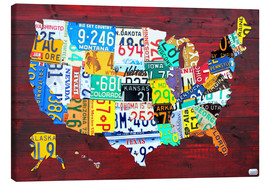 Lienzo  License Plate Map of the USA - Design Turnpike