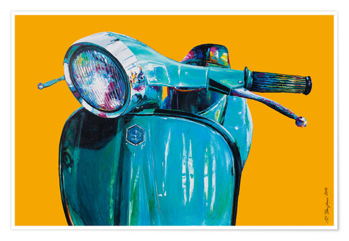 Póster Vespa yellow Popart