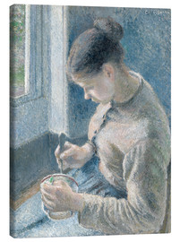 Lienzo  Young Peasant Woman Drinking Her Cafe au Lait - Camille Pissarro
