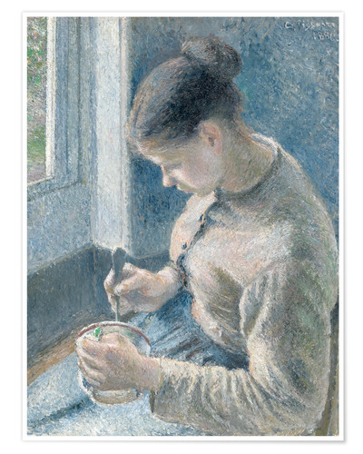 Póster Young Peasant Woman Drinking Her Cafe au Lait