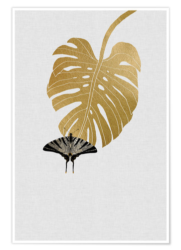 Póster Butterfly & Monstera