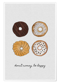 Póster  Donut Worry Be Happy - Orara Studio