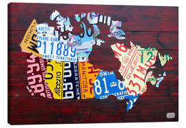 Lienzo  License Plate Map of Canada - Design Turnpike