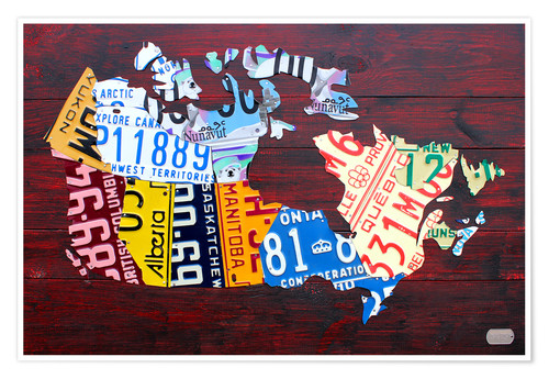 Póster License Plate Map of Canada