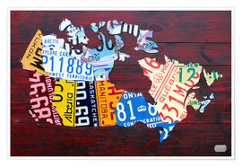 Póster  License Plate Map of Canada - Design Turnpike