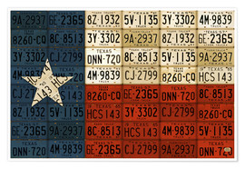 Póster Flag of Texas License Plate Art