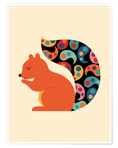 Póster Paisley Squirrel