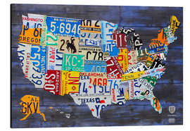 Aluminio-Dibond  License Plate Map of the United States on Blue Wood Planks - Design Turnpike
