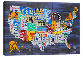 Lienzo  License Plate Map of the United States on Blue Wood Planks - Design Turnpike