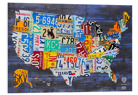 Forex  License Plate Map of the United States on Blue Wood Planks - Design Turnpike