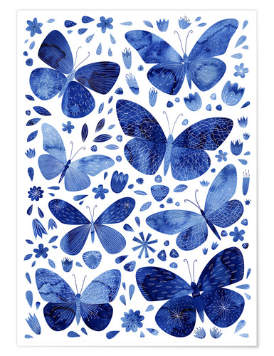 Póster Mariposas China Azul