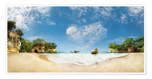 Póster Cathedral Cove Beach with Heart Cloud - New Zealand