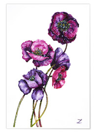 Póster Purple Poppies