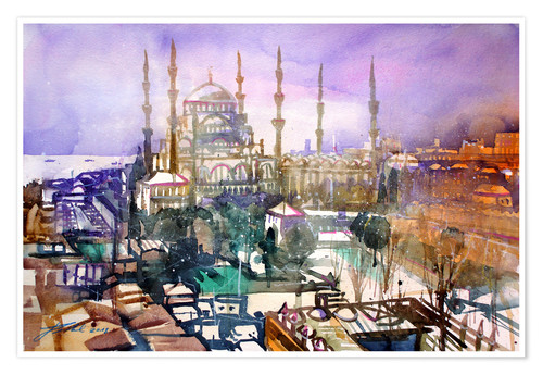 Póster Istanbul, view to the blue mosque