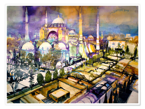 Póster Istanbul, view to the Hagia Sophia mosque
