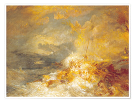 Póster  Fuego en el mar - Joseph Mallord William Turner