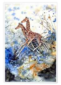 Póster  Golden Childhood. Playing Giraffe babies - Zaira Dzhaubaeva
