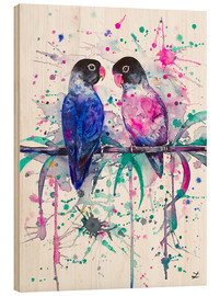 Cuadro de madera  Love is in the air! Lovebirds - Zaira Dzhaubaeva