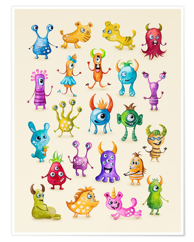 Póster Illustration of colorful monsters