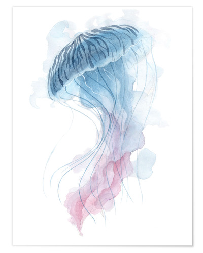 Póster Watercolor Jellyfish