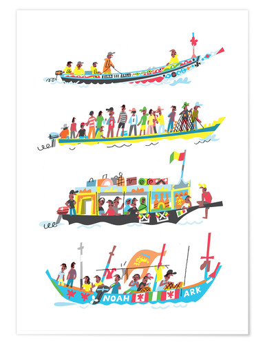 Póster Four African Boats