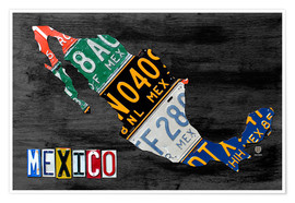 Póster License Plate Map of Mexico