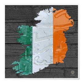 Póster Ireland License Plate Map