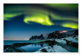 Póster Aurora Borealis above the island of Senja (Northern Norway)