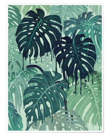 Póster  Monstera Melt (in Green) - littleclyde
