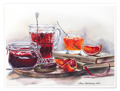 Póster Watercolor still life with Jam jars
