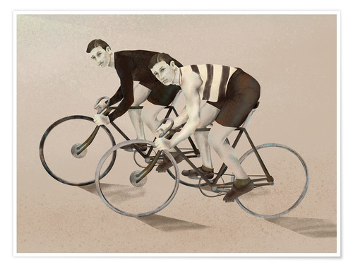Póster twin cyclists