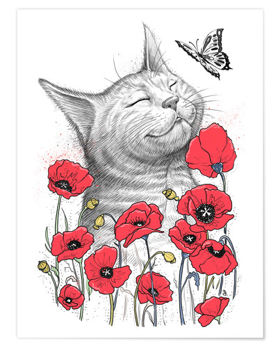 Póster Cat in poppies