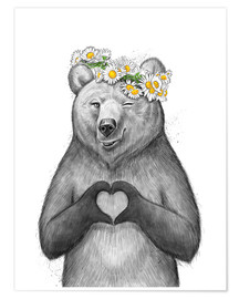 Póster Girl bear with heart