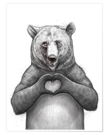 Póster Bear with heart