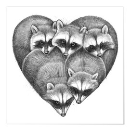 Póster  Heart from raccoons - Nikita Korenkov