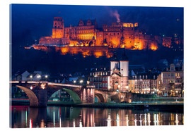Cuadro de metacrilato  Castle and Old Bridge at night, Heidelberg, Baden-Wurttemberg, Germany - Jan Christopher Becke