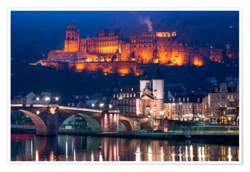 Póster Castle and Old Bridge at night, Heidelberg, Baden-Wurttemberg, Germany