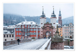 Póster Heidelberg Old Bridge in winter, Baden-Wurttemberg, Germany