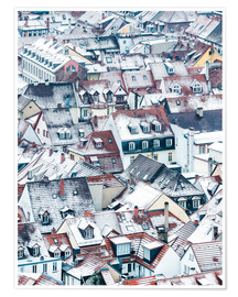 Póster  Snowy rooftops in the old town of Heidelberg - Jan Christopher Becke