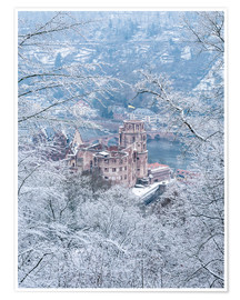 Póster  Castle in the snow, Heidelberg, Baden-Wurttemberg, Germany - Jan Christopher Becke