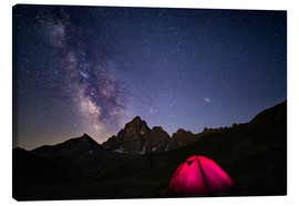 Lienzo  Glowing camping tent under starry sky on the Alps - Fabio Lamanna