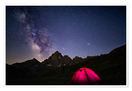 Póster  Glowing camping tent under starry sky on the Alps - Fabio Lamanna